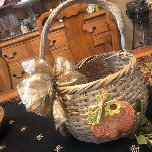 Pumpkin Wicker one of a kind Basket!
